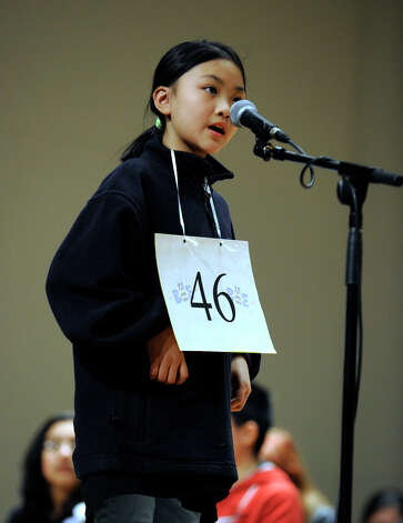 Valerie Zhang of Greenwich, Conn. competes in the the Hearst Media Services Spelling Bee is held at Western Connecticut State University in Danbury, Conn. Thursday, March 14, 2013. Photo: Carol Kaliff / The News-Times