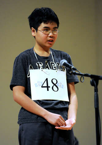 Ramon Cabailo of Stamford, Conn. competes in the Hearst Media Services Spelling Bee is held at Western Connecticut State University in Danbury, Conn. Thursday, March 14, 2013. Photo: Carol Kaliff / The News-Times