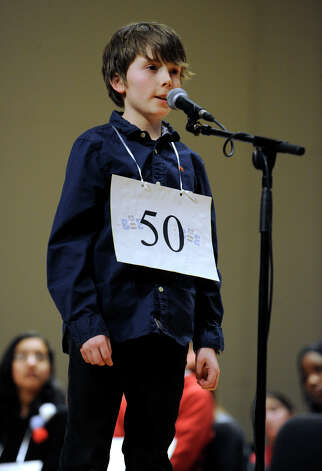 Noah Slager of Ridgefield, Conn. competes in the Hearst Media Services Spelling Bee is held at Western Connecticut State University in Danbury, Conn. Thursday, March 14, 2013. Photo: Carol Kaliff / The News-Times