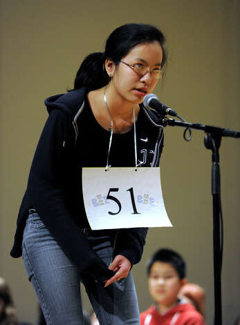 Kathy Nguyen of West Hartford, Conn. competes in the Hearst Media Services Spelling Bee is held at Western Connecticut State University in Danbury, Conn. Thursday, March 14, 2013. Photo: Carol Kaliff / The News-Times