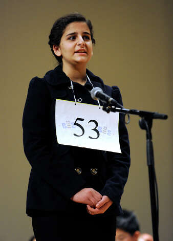 Martha Haddad of Danbury, Conn., competes in the Hearst Media Services Spelling Bee is held at Western Connecticut State University in Danbury, Conn. Thursday, March 14, 2013. Photo: Carol Kaliff / The News-Times