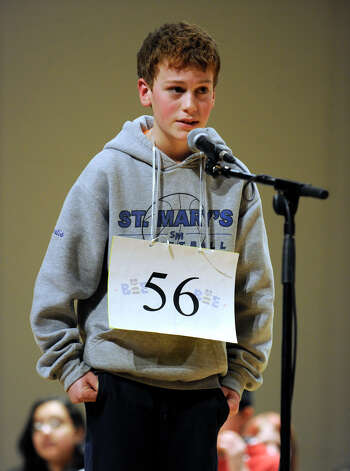 Matt Stamatis of Ridgefield, Conn. competes in the Hearst Media Services Spelling Bee is held at Western Connecticut State University in Danbury, Conn. Thursday, March 14, 2013. Photo: Carol Kaliff / The News-Times