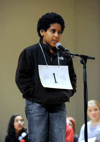 Marcos Lopez of Bridgeport, Conn., competes in the Hearst Media Services Spelling Bee is held at Western Connecticut State University in Danbury, Conn. Thursday, March 14, 2013. Photo: Carol Kaliff / The News-Times