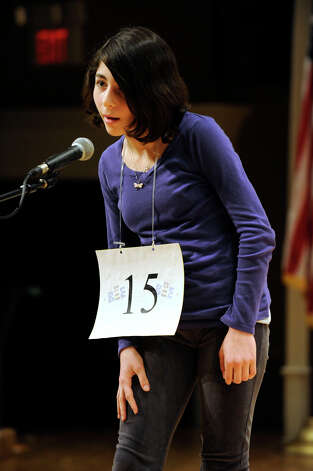Julia Feldman of Westport, Conn. competes in the Hearst Media Services Spelling Bee is held at Western Connecticut State University in Danbury, Conn. Thursday, March 14, 2013. Photo: Carol Kaliff / The News-Times