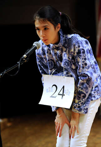 Crustina Gaudio of West Hartford, Conn. competes in the Hearst Media Services Spelling Bee is held at Western Connecticut State University in Danbury, Conn. Thursday, March 14, 2013. Photo: Carol Kaliff / The News-Times