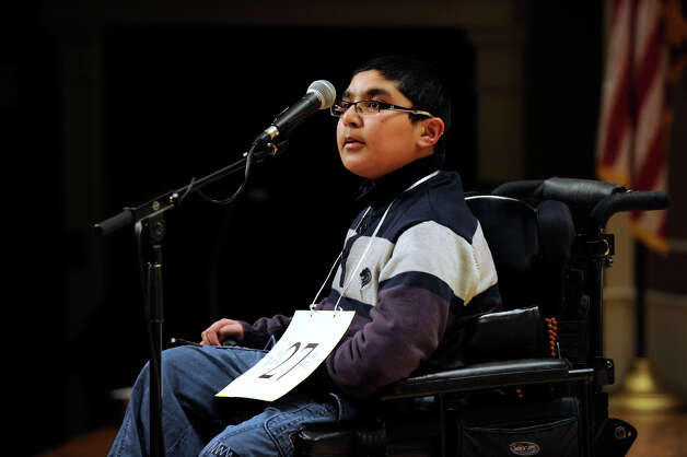 Shivinder Bhagania of Brookfield, Conn. competes in the Hearst Media Services Spelling Bee is held at Western Connecticut State University in Danbury, Conn. Thursday, March 14, 2013. Photo: Carol Kaliff / The News-Times