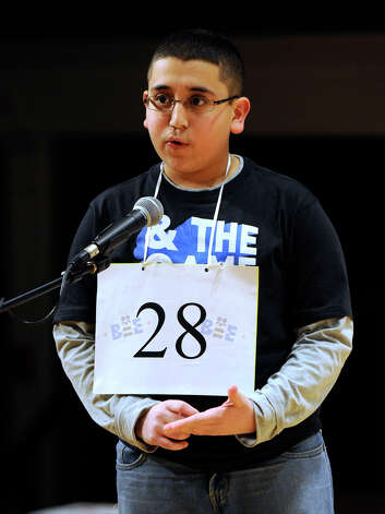 Abram Goda, 12, of Bridgeport, Conn., competes in the Hearst Media Services Spelling Bee is held at Western Connecticut State University in Danbury, Conn. Thursday, March 14, 2013. Photo: Carol Kaliff / The News-Times