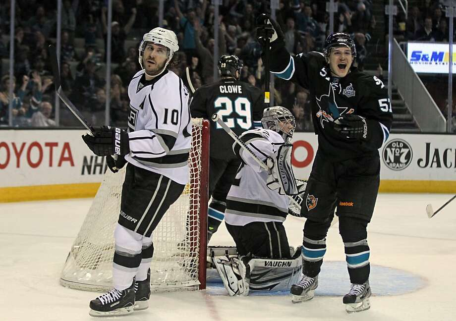 Tommy Wingels (57) cheers a second-period goal by the Sharks' Logan Couture (not pictured). Photo: Lance Iversen, The Chronicle