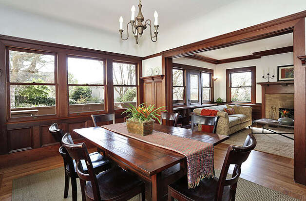 Fine woodworking is also apparent in the dining room.