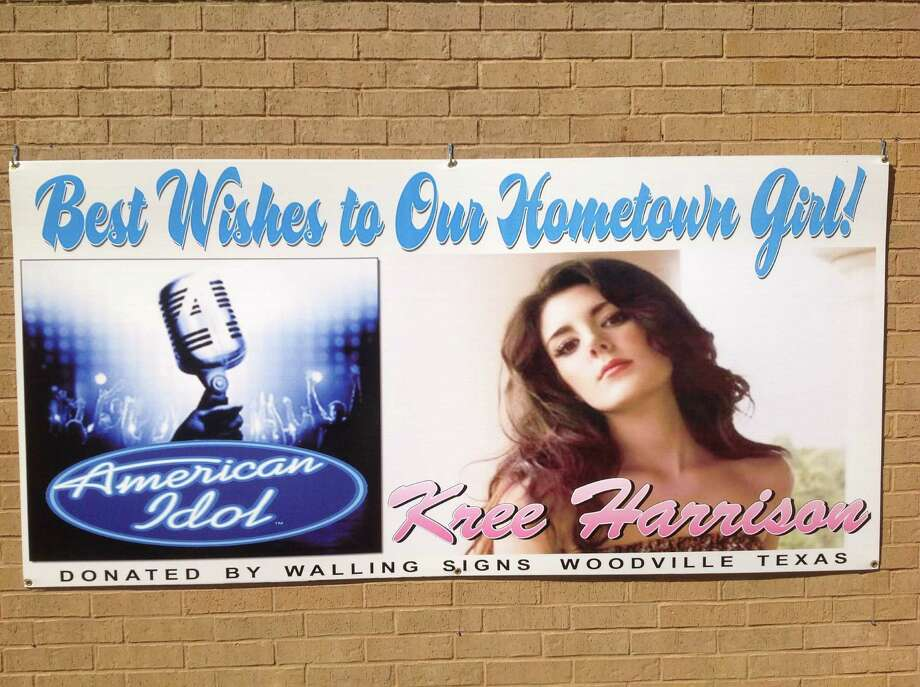 Woodville city hall has placed a banner on it's building supporting Woodville native Kree Harrison. Photo: Woodville City Hall