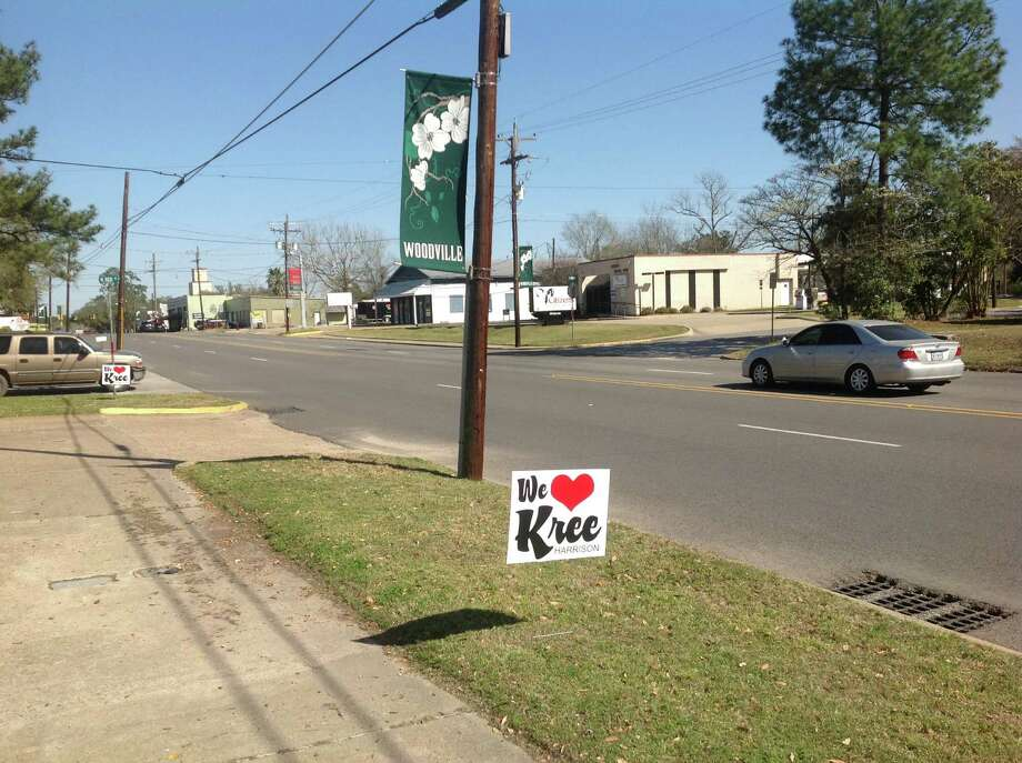 "Signs supporting ""American Idol"" contestant Kree Harrison have populated Woodville. Photo: Woodville City Hall"