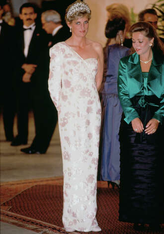 This  Catherine Walker dress that Princess Diana wore during an official visit to Brazil is also for sale. Photo: Tim Graham, Tim Graham/Getty Images / Tim Graham Photo Library