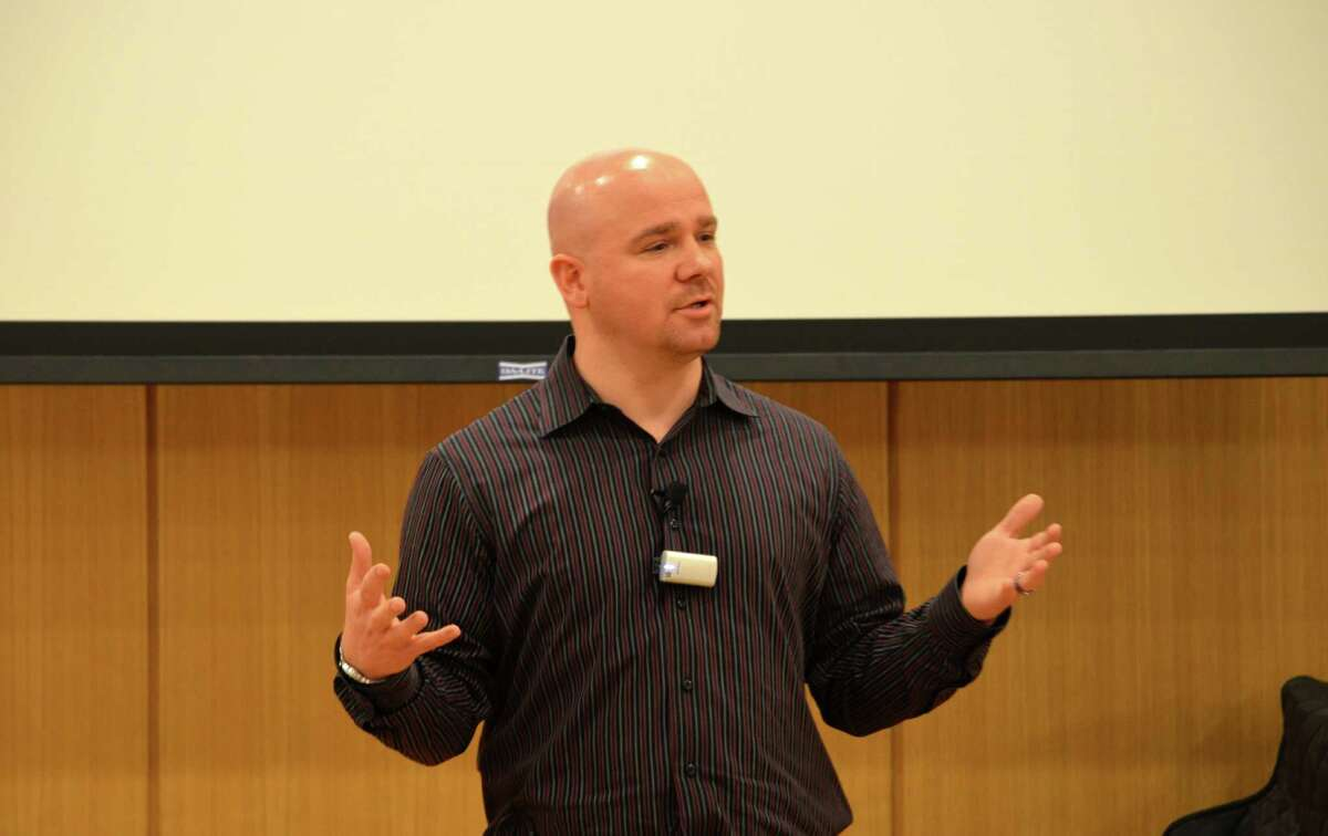 Jamie Nabozny spoke at the Darien Public Library about the bullying he received growing up for being gay. He shared what he feels is the right course of action for addressing bullying in the schools.