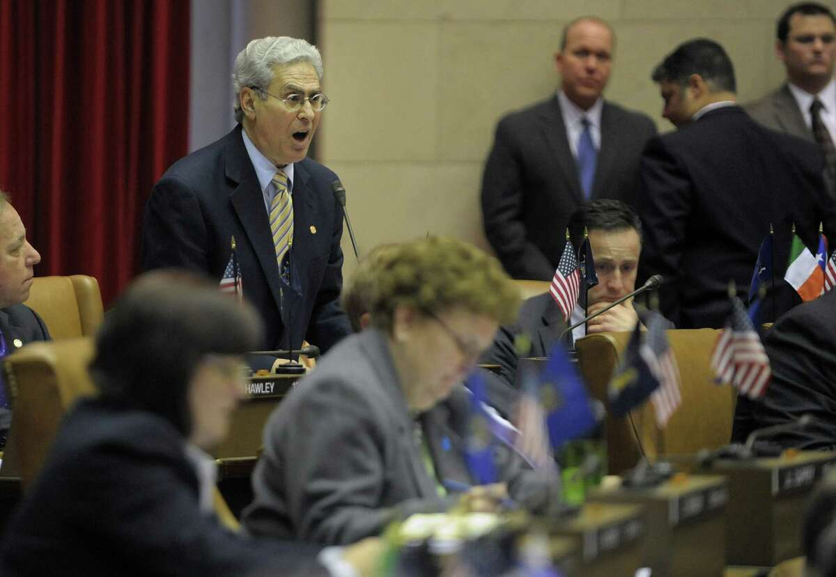 Assemblyman Steve Katz rises to speak out against the gun bill on the floor of the Assembly during debate on the NY SAFE Act bill Tuesday, Jan. 15, 2013 in Albany, N.Y. (Paul Buckowski / Times Union)