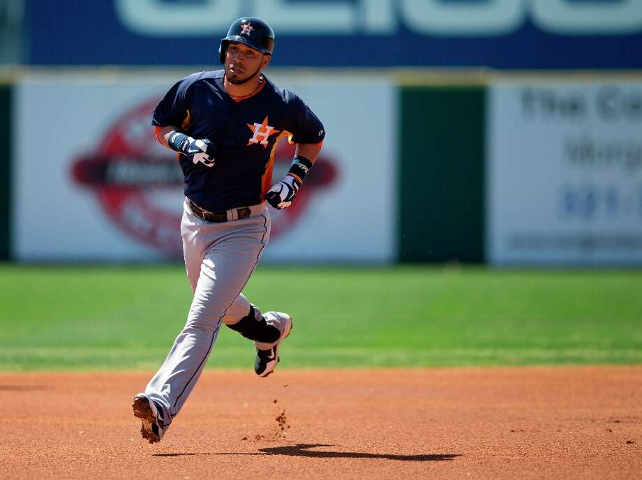 Marwin Gonzalez rounds second base after hitting a home run during the first inning. Photo: Evan Vucci