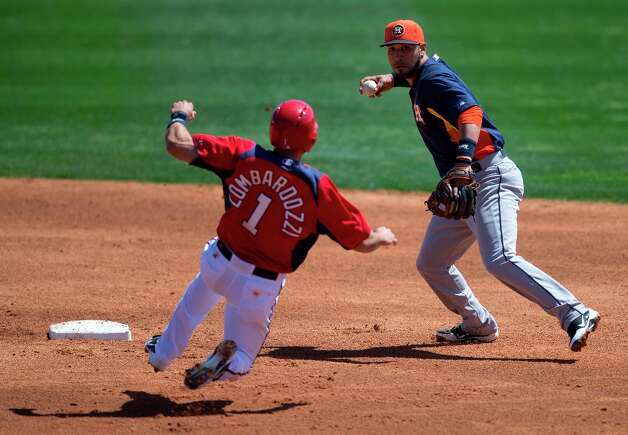 Astros infielder Marwin Gonzalez, right, turns a double play as Nationals' Steve Lombardozzi slides into second base during the second inning. Photo: Evan Vucci