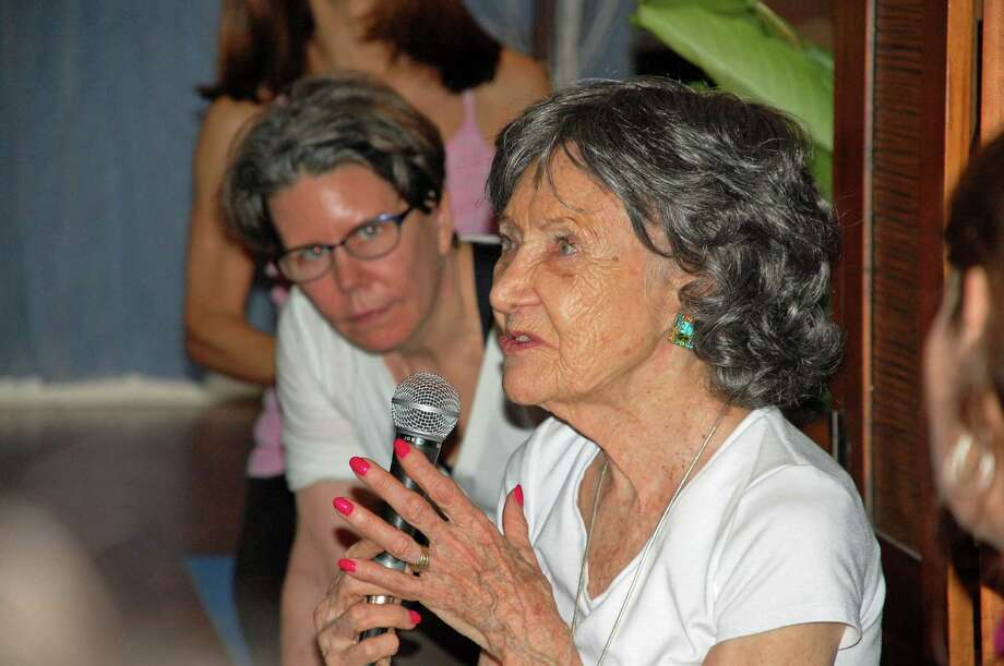 "For the Darien News/Jarret Liotta Tao Porchon-Lynch, 94, who was the guest instructor at Elements Yoga & Wellness Center in Darien, has been doing yoga since she was about 8 years old. At first, she was discouraged from doing so because she was told it was not ladylike. But, she told her audience, ""Iíve always been a rebel."" Photo: Contributed"