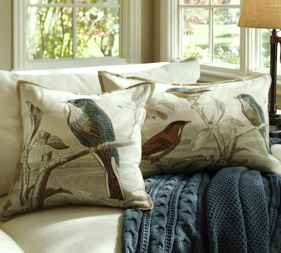 Vintage postcards inspire Sky Bird embroidered pillow covers from Pottery Barn. Visiting spring's décor previews often felt like exploring an art gallery. Photo: Pottery Barn