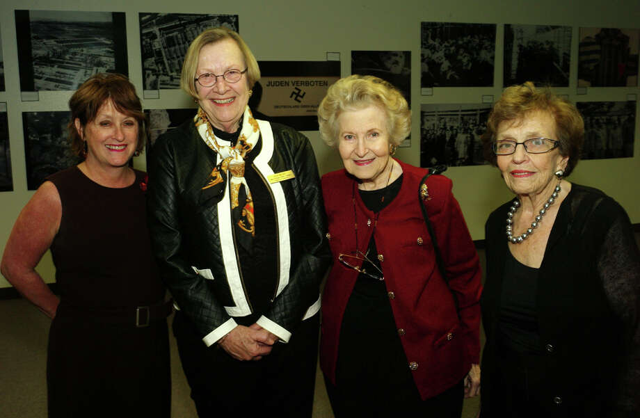 "OTS/HEIDBRINK - Joan Cheever, from left, Jean Brady, Glenda Alter and Maxine Cohen at the ""Holocaust: Learn and Remember"" opening reception at the Central Library on 3/4/2013. names checked photo by leland a. outz Photo: LELAND A. OUTZ, SPECIAL TO THE EXPRESS-NEWS / SAN ANTONIO EXPRESS-NEWS"
