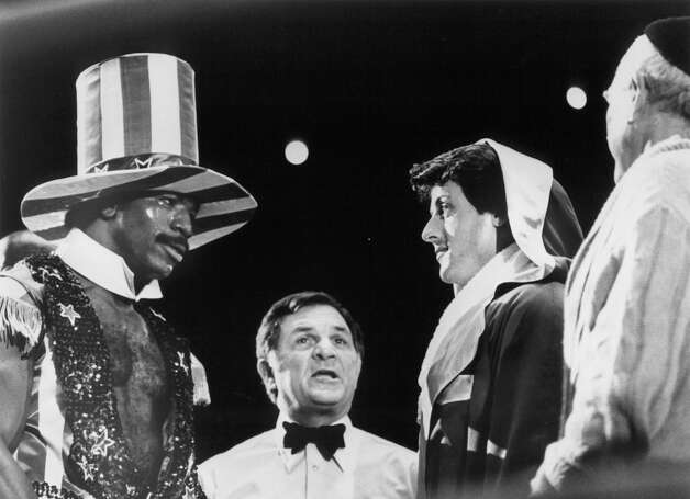 Rocky and Champion Apollo Creed (Carl Weathers) face off before the fight in 'Rocky.' Photo: Archive Photos, Getty Images / 2011 Getty Images