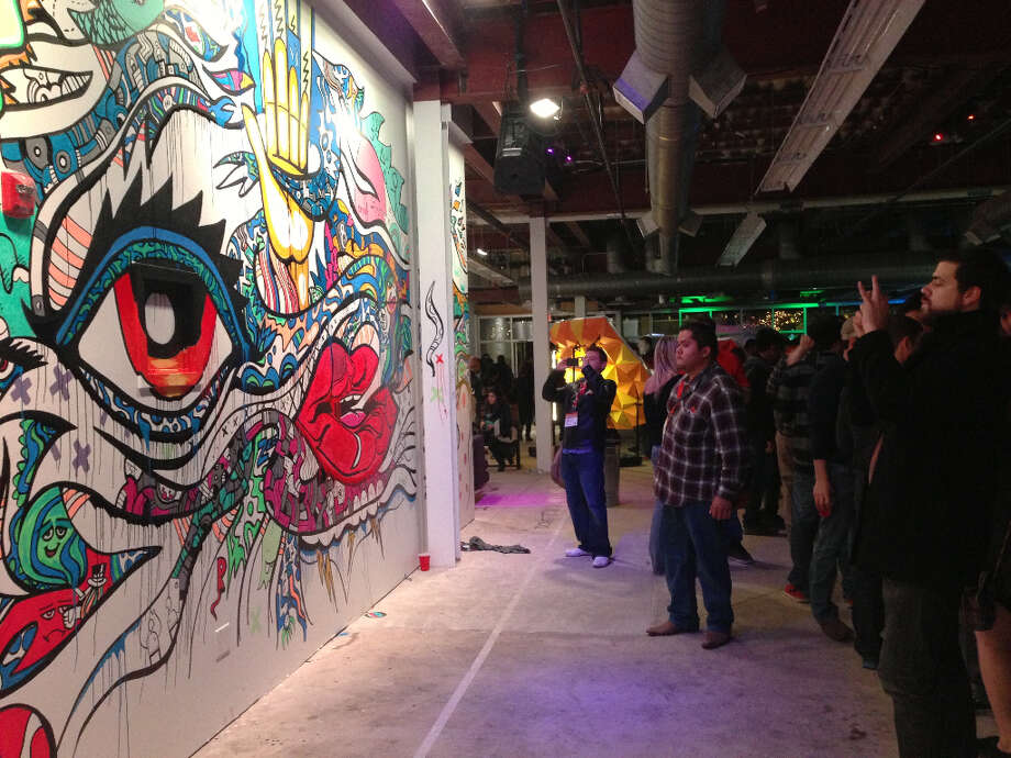 The Microsoft party has this wild mural on display.