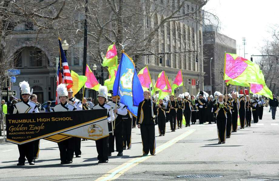The Trumbull High School marching band in the annual St. Patrick's Day parade in downtown Bridgeport, Conn. on Friday March 15, 2013. Photo: Cathy Zuraw / Connecticut Post