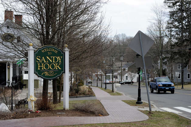 A sign welcomes vistors to the Sandy hook section of Newtown, Conn., Friday, March 15, 2013. Photo: Carol Kaliff / The News-Times