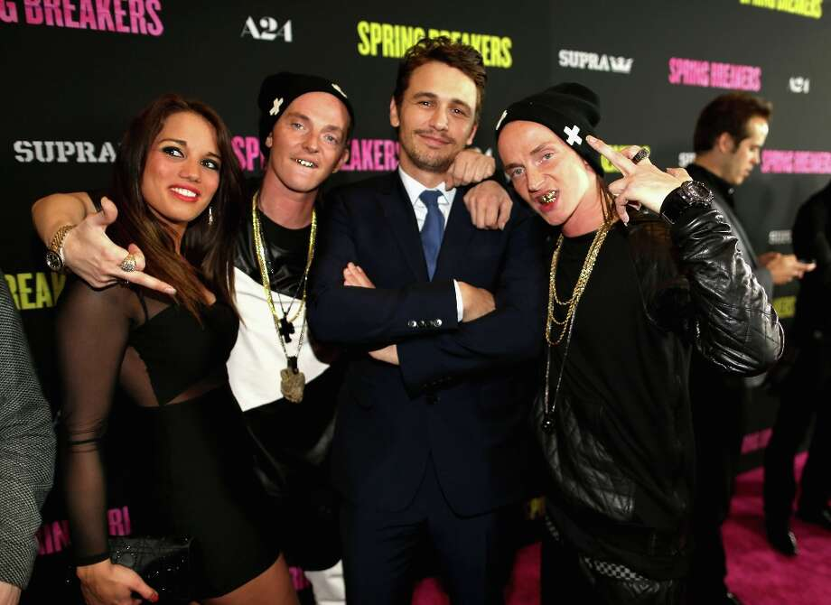 Actor James Franco (C) and The ATL Twins attend the Spring Breakers premiere at ArcLight Cinemas on March 14, 2013 in Hollywood, California. Photo: Christopher Polk, Getty Images / 2013 Getty Images