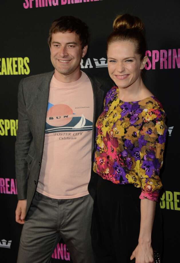 Actors Mark Duplass and Katie Aselton attend the 'Spring Breakers' premiere at ArcLight Cinemas on March 14, 2013 in Hollywood, California. Photo: Jason Merritt, Getty Images / 2013 Getty Images