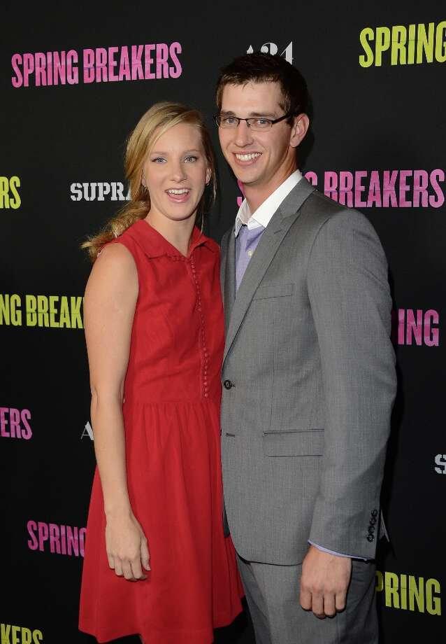 Actress Heather Morris and guest attend the 'Spring Breakers' premiere at ArcLight Cinemas on March 14, 2013 in Hollywood, California. Photo: Jason Merritt, Getty Images / 2013 Getty Images