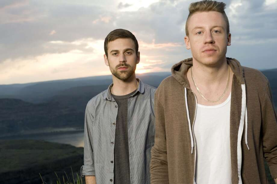 SEATTLE, UNITED STATES - MAY 29: Macklemore (Ben Haggerty) and Ryan Lewis pose for a portrait backstage at the Sasquatch Music Festival in Seattle, Washington, United States, 29th May 2011. (Photo by Steven Dewall)