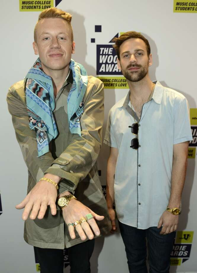 AUSTIN, TX - MARCH 14: Macklemore & Ryan Lewis pose at the mtvU Woodie Awards on March 14, 2013 in Austin, Texas. (Photo by Tim Mosenfelder/Getty Images)