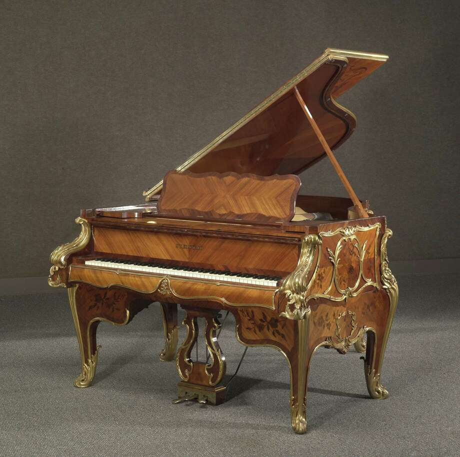 A very fine and historical Louis XV style gilt bronze mounted kingwood and marquetry Steinway art case piano