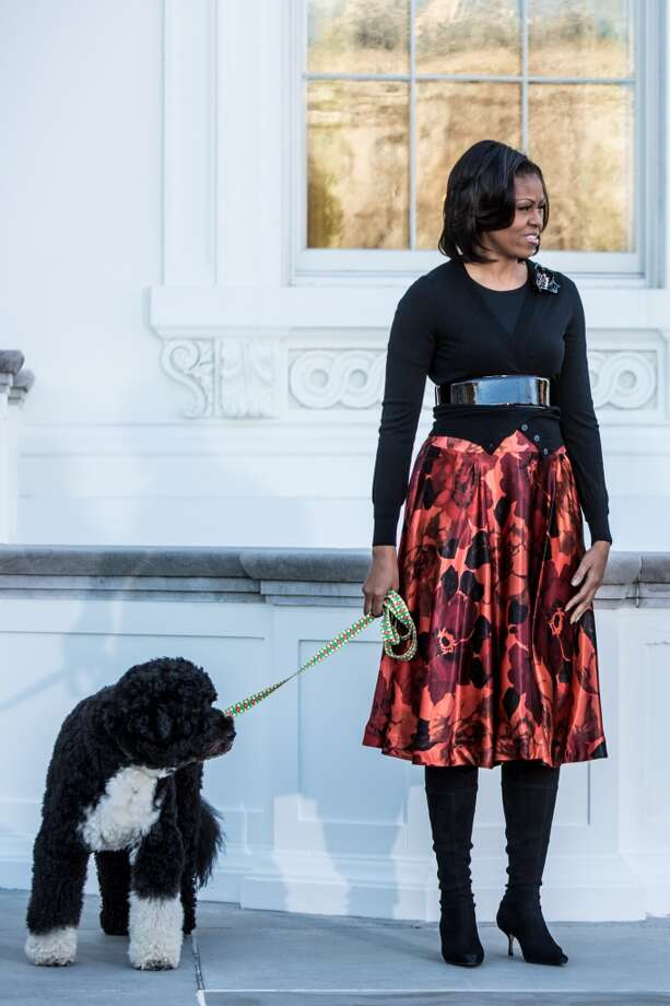 The first lady looking fashionable while walking the the first dog, Bo.