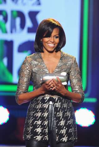 The first lady in a hip, shimmery number onstage at Nickelodeon's 25th Annual Kids' Choice Awards in 2012.