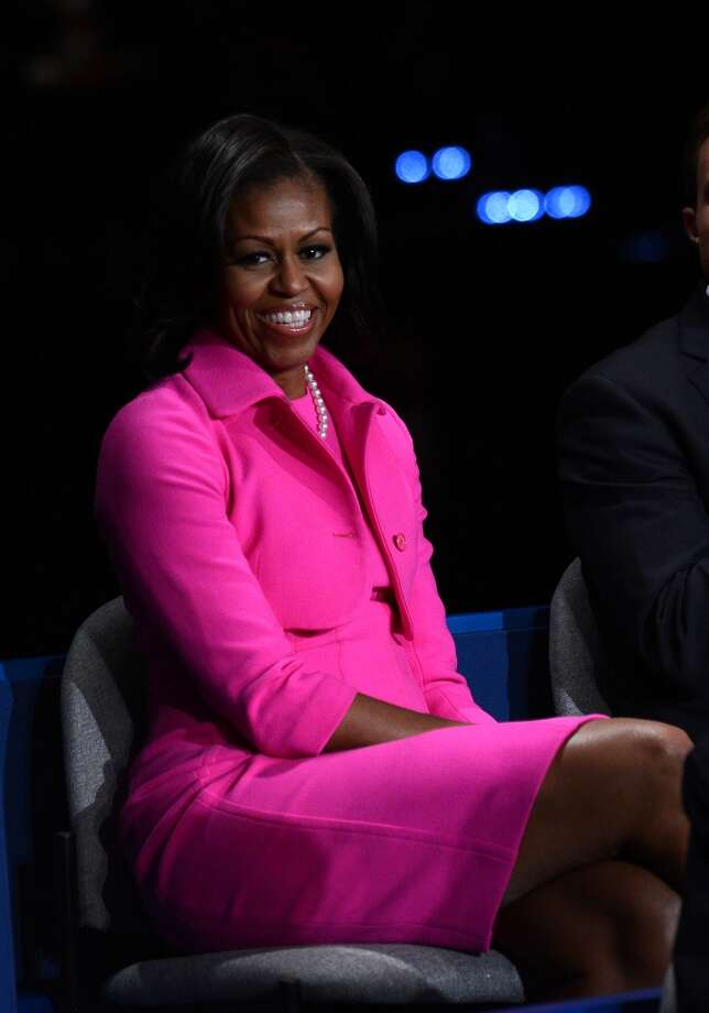 Pretty in pink at the second presidential debate at Hofstra University in 2012.