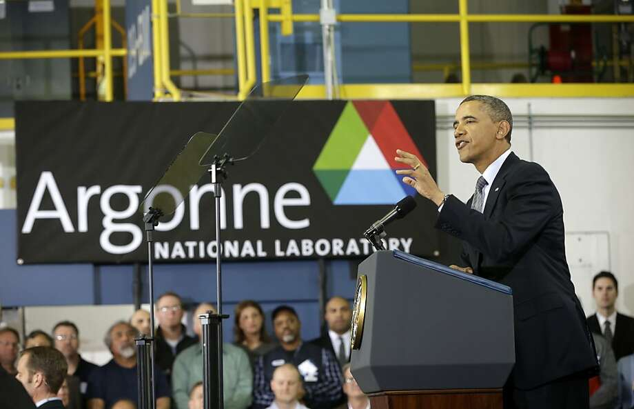 President Obama speaks at Argonne National Laboratory, saying clean energy investments can also create many jobs. Photo: Pablo Martinez Monsivais, Associated Press