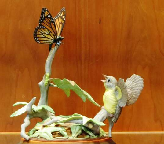 Fledgling Warbler and Monarch Butterfly is among 60 creations by world-renowned sculptor Edward Marshall Boehm that are on view in a new exhibit at the Mark Twain Library in Redding, 439 Redding Road, Redding, Conn.