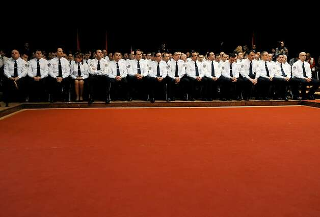Polished brass: Kosovo police officers attend a graduation ceremony for 19 majors and 64 captains in Pristina. Photo: Armend Nimani, AFP/Getty Images