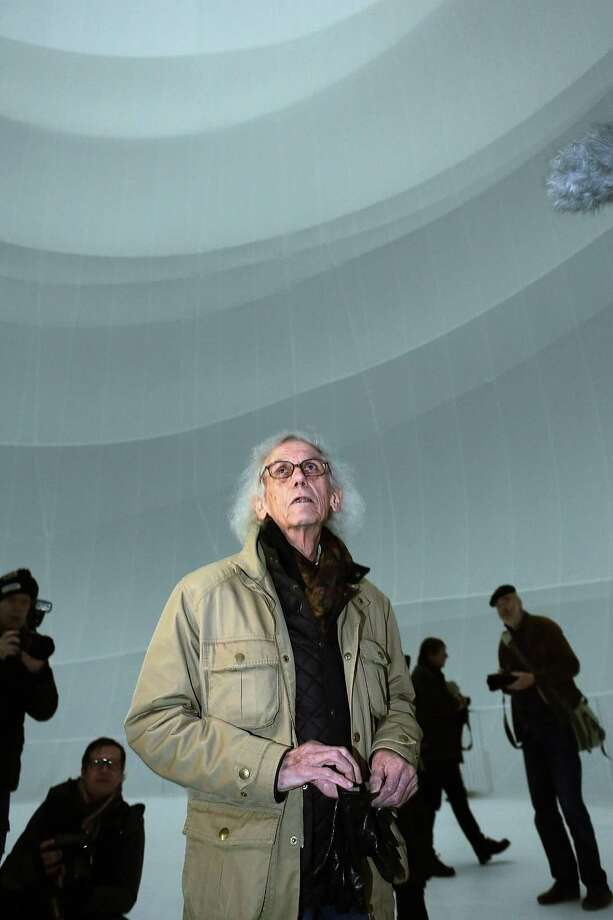 Christo leads reporters on a tour of the balloon. Photo: Hannelore Foerster, Getty Images / 2013 Getty Images