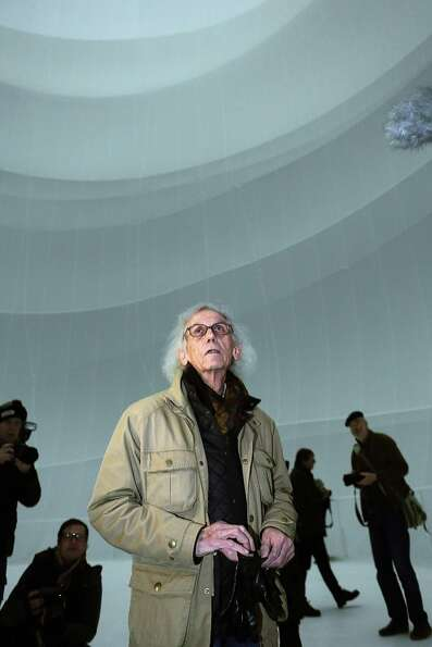 Christo leads reporters on a tour of the balloon.