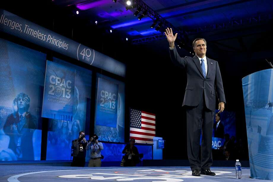 2012 GOP presidential candidate Mitt Romney takes the stage at the Conservative Political Action Conference. He advised others to learn from his campaign's mistakes. Photo: Jacquelyn Martin, Associated Press