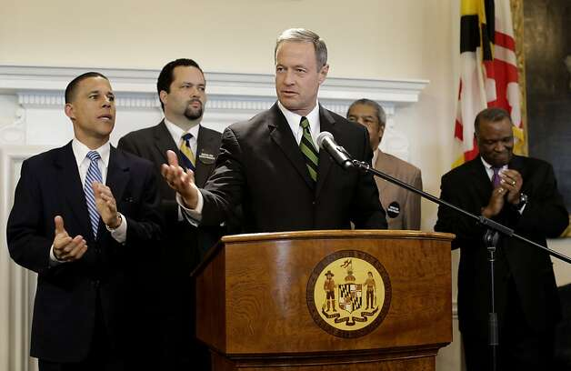 Maryland Gov. Martin O'Malley, center, speaks at a news conference in Annapolis, Md., Friday, March 15, 2013, after the Maryland General Assembly approved a measure to ban capital punishment. Also pictured from left is Lt. Gov. Anthony Brown, NAACP President Ben Jealous, Maryland State Conference NAACP President Gerald Stansbury and Prince George's County Executive Rushern Baker. The bill now goes to O'Malley, who is expected to sign it. Maryland would become the 18th state to abolish the death penalty. (AP Photo/Patrick Semansky) Photo: Patrick Semansky, Associated Press