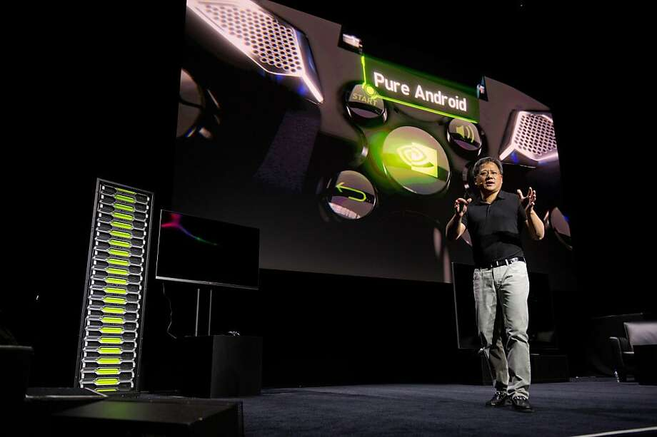 Jen-Hsun Huang, co-founder of Nvidia, above, unveiled the Nvidia Shield, below, in January. Photo: David Paul Morris, Bloomberg