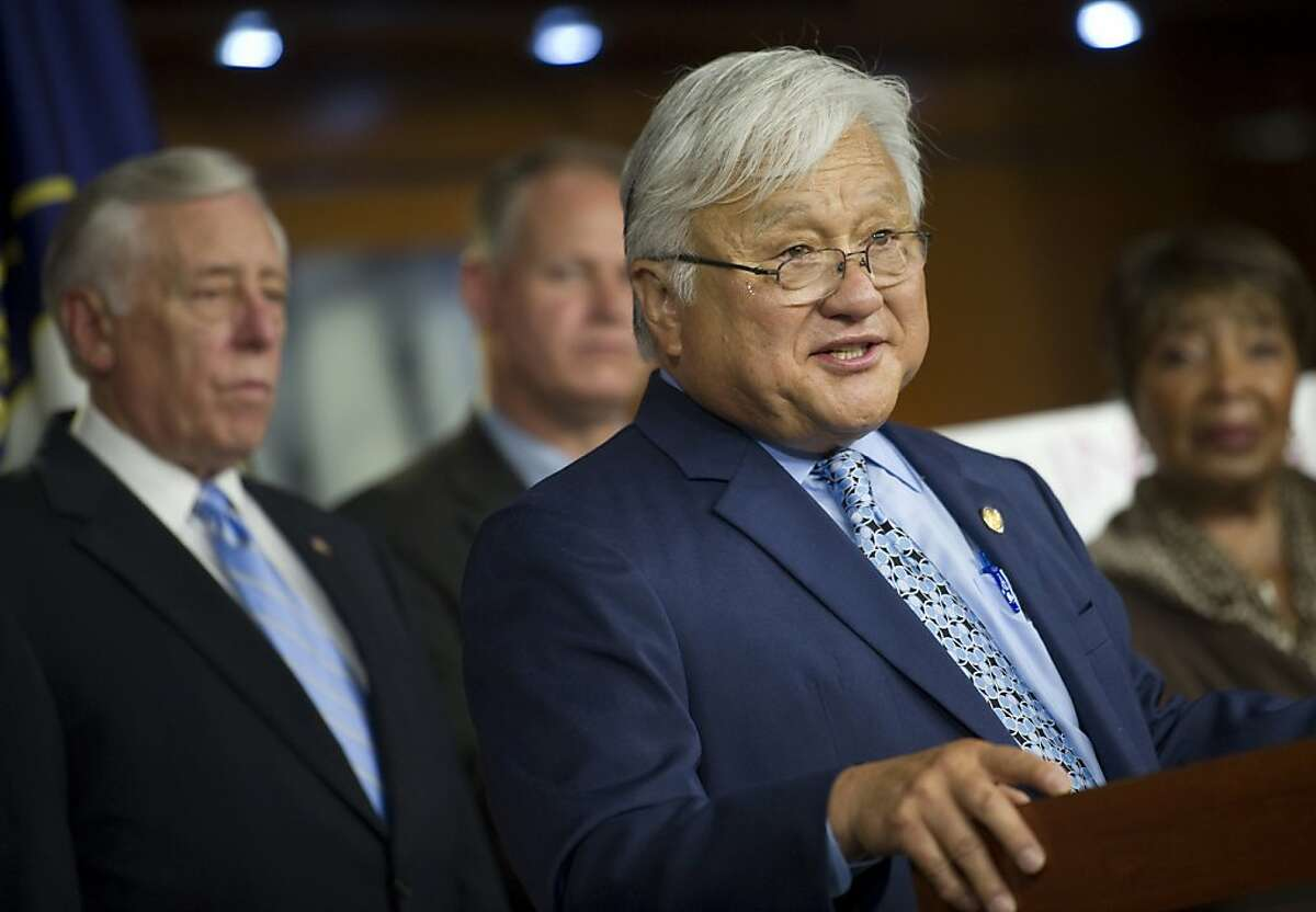 UNITED STATES - JULY 11: House Minority Whip Steny Hoyer, D-Md.; Rep. Mark Critz, R-Pa.; Rep. Mike Honda, D-Calif.; and Rep. Eddie Bernice Johnson, D-Texas, speak at a news conference on the Democrats' Make It In America plan. The plan would