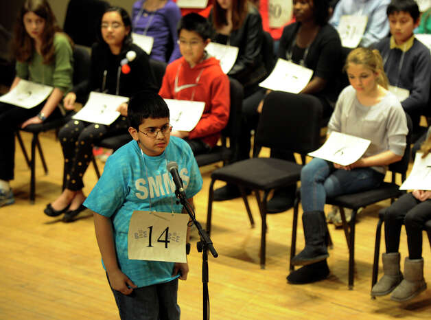 Rahul Katre, of Stamford, Conn. spells a word during the Hearst Media Services Spelling Bee is held at Western Connecticut State University in Danbury, Conn. Thursday, March 14, 2013. Photo: Carol Kaliff / The News-Times