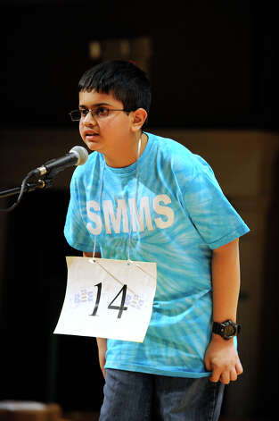 Rahul Katre of Stamford, Conn. competes in the Hearst Media Services Spelling Bee is held at Western Connecticut State University in Danbury, Conn. Thursday, March 14, 2013. Photo: Carol Kaliff / The News-Times