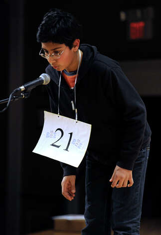 Arjun Jajvan, of West Hartford, Conn, competes in the Hearst Media Services Spelling Bee is held at Western Connecticut State University in Danbury, Conn. Thursday, March 14, 2013. Photo: Carol Kaliff / The News-Times