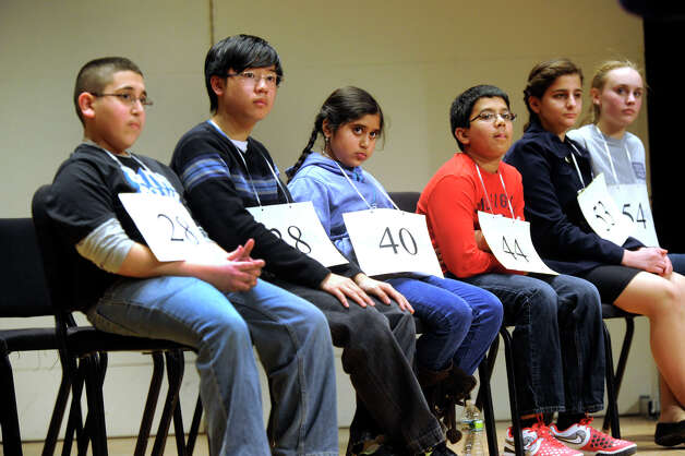Finalists in the Hearst Media Services Spelling Bee is held at Western Connecticut State University in Danbury, Conn. Thursday, March 14, 2013. Photo: Carol Kaliff / The News-Times