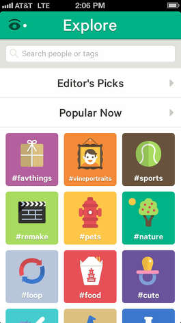 The Explore page offers shortcuts to Editor's Picks and Popular Now clips, along with hashtags for what has Vine users buzzing. Photo: Vine